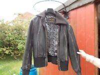 ROCA WEAR UNISEX BLACK LEATHER JACKET,size large,