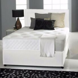 Luxury Black Damask Fabric ; Deep Quilt Double Divan Bed with Black Memory Foam Mattress Brand New