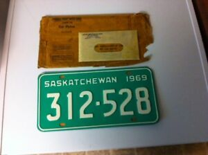 1969 LICENSE PLATES - NOS - with WAR AMPS TAGS