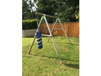Swing set, wooden, with punch bag nearly new