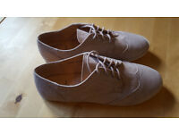 Ladies beige suede lace up shoes by Atmosphere. Brand new and unworn. Size 5/38. £3