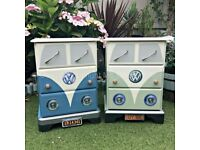 Vintage Retro VW CamperVan Style Pine Chest of Drawers / Bedside Table - Green or Blue