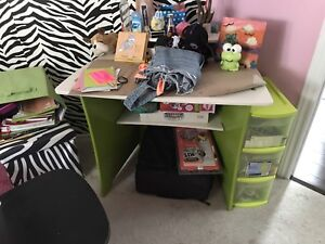 Kids lime green and white desk