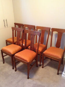6 Antique Oak Dining Chairs-Great condition!