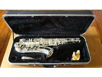 Silver tenor saxophone