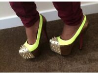 £15 each Women's neon pink, blue and yellow high heel shoes