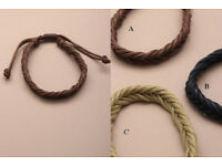 Plaited natural cord bracelet. in an assortment of black/cream and brown. - JTY024