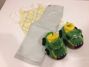 Size 18 month boy's outfit with John Deere slippers.