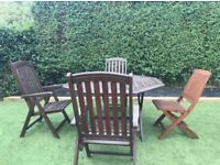 Solid wooden table & 4 chairs