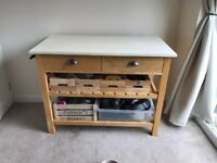 Solid Butchers Kitchen Table with Cream Chalk Painted Top