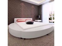 White King Size Round Bed Faux Leather new