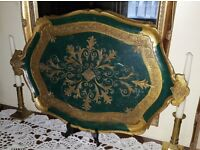 Vintage Italian Papier Mache Green and Gold Florence Serving Tray