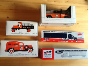 FRAM Collectable trucks, a Ford and a Peterbilt