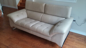 2 Beige Faux Leather Sofas