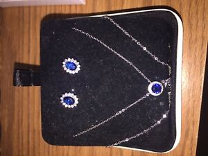 Earrings and necklace set 925 silver-- NEW PRICE
