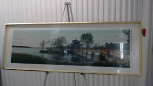 Old Chinese Framed Silk Embroidery Art Lake Scenery,颐和园知春亭