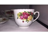 Royal Norfolk Country Roses - 4 cups & 3 saucers