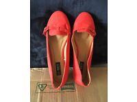 Orange flat wide fit shoes