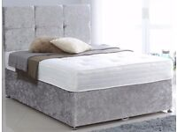 Brand new Double Crushed Velvet Divan bed in Silver,Cream and Black color!! Express Delivery;