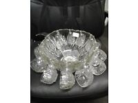 attractive glass punch bowl and glasses