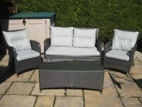 Dobbies Rattan Garden Furniture Set 2 Seat Sofa 2 Chairs and a Table