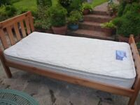 Chunky Pine Single Bed & Good Quality Mattress in VGC