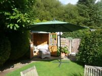 GARDEN SUN PARASOL 3M ALUMINIUM FRAME GREEN + COVER (new July 17)