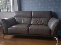 Grey leather 2 seater sofa