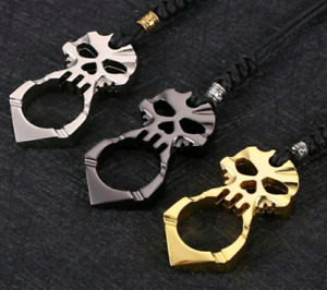 Skull defensive tactical glass breaker necklace finger loop