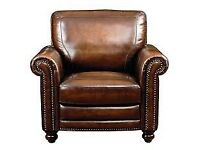 WANTED - Armchair. A highjack winged in brown leather and/or tweed material