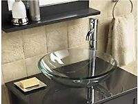 NEW COUNTERTOP CLEAR GLASS BOWL BASIN SINK