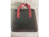 Designer Dark Tan/Red Hand Bag