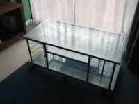 TV Stand Silver with two Glass Shelves