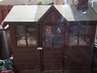 Playhut transformed to large rabbit huts with 2 male rabbits