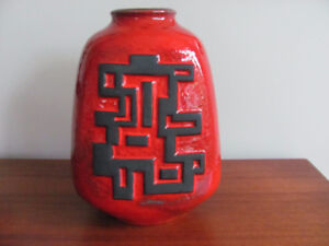 MCM WEST GERMANY RED FAT LAVA POTTERY VASE Carstens #72-26