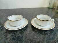 White espresso cups and saucers