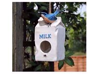 Novelty Milk Carton Bird House Hatching & Nesting Box for Small Garden Birds £8