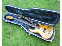 Aria SB-700 bass guitar and Hiscox case. 80s Matsumoku.