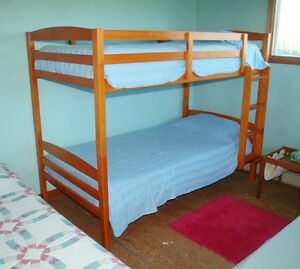 Solid Wood Detachable Bunk Bed w/ Brand New Eco Foam Mattresses