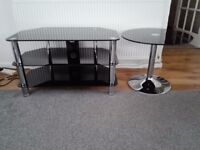Black glass and chrome TV stand and table
