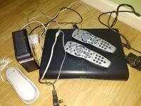 Sky, box internet hub, X2 remotes and phone