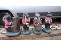 WOW FABULOUS RETRO 80S HEAVY CONCRETE 4 ANIMAL ORNAMENTS PLAYING INSTRUMENTS GARDEN PATIO DECOR