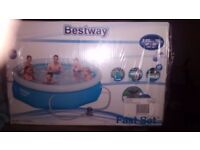 Paddling pool. 10ft never been used. Still in box. Comes with its own pump