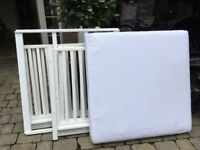 Solid Wood White Painted Play Pen With Mattress