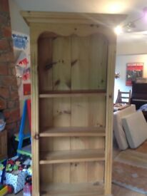 Tall pine bookshelf with 3 shelves