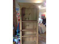 Tall pine bookshelf with 3 shelves