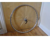 Hybrid Bike Front Wheel Shimano Deore Hub Stainless Steel Spokes Alloy Rim Double Wall Can Deliver