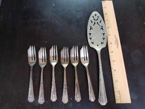 George VI Coronation Set of Six Cake Forks and Lifter