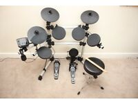SessionPro DD405D electronic drum kit, Vic Firth sticks, stool and headphones, with original boxes