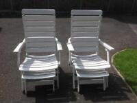 Two sun loungers with footstool